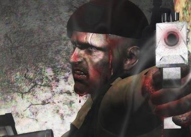 Daz Studio4でレンダリング。機関銃を持ってトイレにスクランブルをかける血まみれの戦士